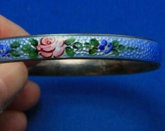 Vintage Sterling Silver Guilloche Enamel Blue Cabbage Rose Bangle Bracelet