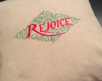 Rejoice Throw Pillow Cover (pillow insert not included).
