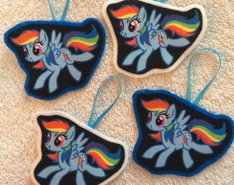 My Little Pony Christmas Ornaments-Set of 4, 2 of each background color!!