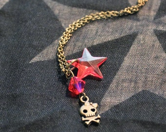 Necklace with pendant bronze color and bead router and star metal pink