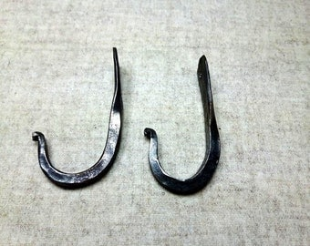 2 Hooks, Forged Iron, Wall Peg