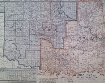 1903 OKLAHOMA & INDIAN TERRITORY map, antique, original, colour, historical