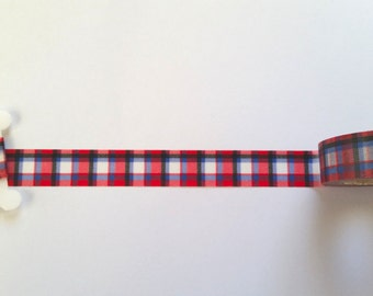 Red And Blue Plaid Washi Tape // Sample // Item #035