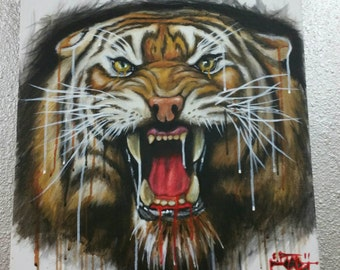 Original tiger big cat painting 25%off!