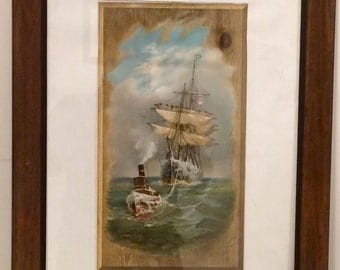 Fred Pansing (American 1844-1912) Stormy Voyage Original Chromolithograph 1893