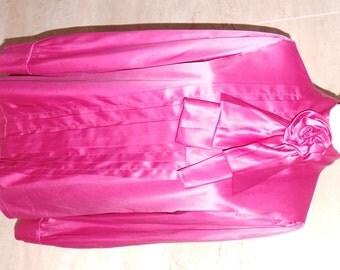 Amazing Vintage Pink Satin Blouse