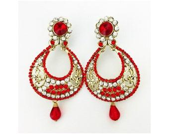 Red Indian Earrings Indian Jewelry India Bollywood Women Fashion Earrings Statement Earrings Chandelier Dangle Earrings Wedding
