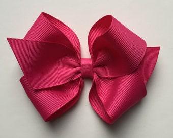 Pink hair bow, girls hair bow, toddler hair bow, baby hair bow, large bows, large hair bow, girl hair bow, hot pink bow, plain bow