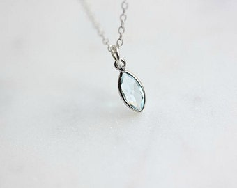 Blue Topaz in Sterling silver - December Birthstone necklace - Blue Topaz necklace in Sterling Silver - Delicate Necklace - Bridesmaid gift