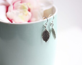 Leaf Jewelry - Dangle Leaf Earrings - Small Drop Earrings - Silver Leaves - Nature Jewelry - Gift for Her - Sterling Leaf earrings
