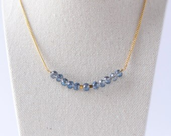 Delicate Elegant Gold Necklace, sparkly blue beads, minimalistic jewelry, bridesmaid gift
