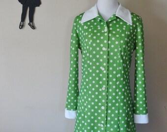 Vintage 1970's Polka Dot Dress / 70s Green Polyester Day Dress L/XL  tr