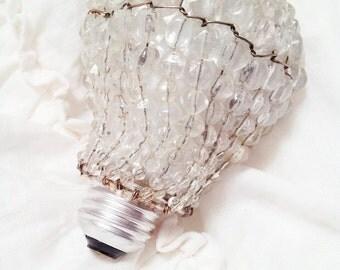 Beautiful Vintage Shabby Chic Crystal Beaded Light Bulb Cover - Standard Size Light Bulbs