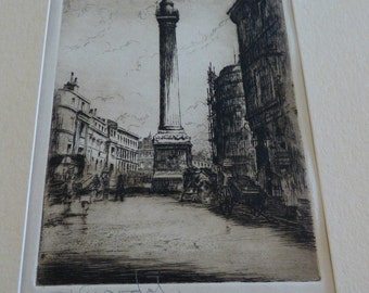 George Huardel-Bly, Pencil Signed Etching, The Monument, London. c.1900