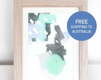 Pastel blue mint circle rain abstract geometric shapes art print A5 A4 A3 A2