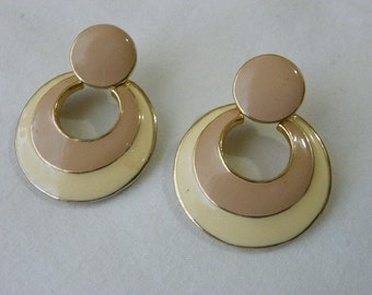 Vintage pierced enamel earrings
