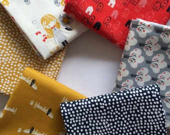 Mori Girls by Dashwood Studio Fat Quarter Fabric  Bundle. 6 Fat Quarters in Total