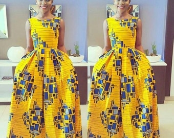 Yellow Block  floor length butterfly dress, prom dress, African dresses for wedding, African dresses for prom,