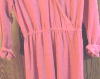 Casual Dress Size M (12)  b Mr. Jack/Dallas,  Pink, Longsleeves, Knee Length, Elastic Waist, Cuffs, Textured Knit, Work Dress