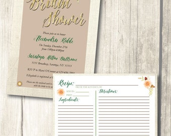 Bridal Shower Invitation and Recipe Card - Printable