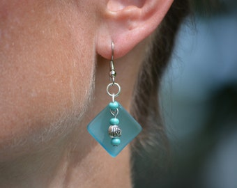 Sky Blue Recycled Glass Earrings