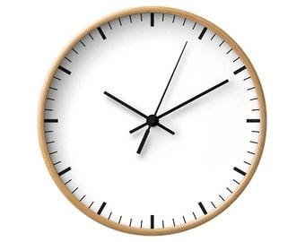 Classic Wall Clock, 5 Colors, White Clock, Minimalist Decorative, Simple Black and White, Modern Wall Decor, Wood Clock, Scandinavian Style