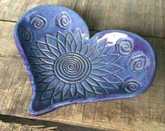Purple Spiral Floral Handmade Pottery Pedestaled Heart Dish- Spoon Rest