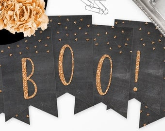 Boo Halloween Banner - DIY Printable - Instant Download - Chalkboard & Glitter Look - Black and Orange