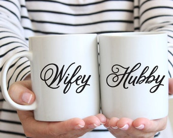 Wifey and Hubby Mugs | Couple Gift | Couple Mugs | Matching Coffee Mugs | Wedding Gift | Mr & Mrs Mugs | Anniversary Gift | Under 50