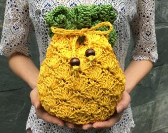 FREE SHIPPING,Pineapple Cross-Body Bag, Paper Yarn Crochet Shoulder Bag,Fruit Bag,Handknit Shoulder Bag,Crochet Crossbody Bag