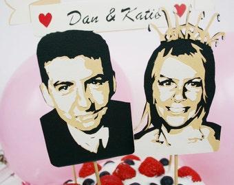 Wedding Cake Topper Set - 2 Custom Papercut Portraits with Papercut Banner