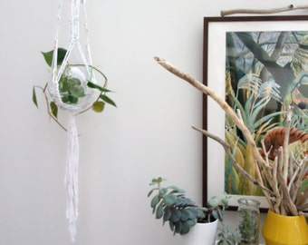 Modern macrame plant hanger / painted rope hanger / knotted pot hanger / suspended plant hanger / hanging plant