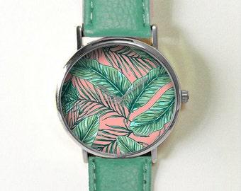 Palm und Banane Blätter Watch, Vintage-Stil Leder Uhren, Frauen Uhren, Unisex: Watch, Freund Watch Herrenuhr, blaugrün, Rosa