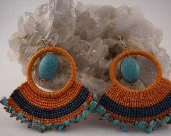 Howlite and Turquoise Earrings