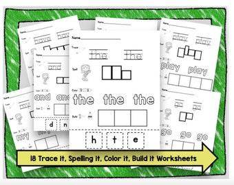 50% OFF SALE Sight Word Worksheets - Printable - Kindergarten - Preschool - INSTANT Download