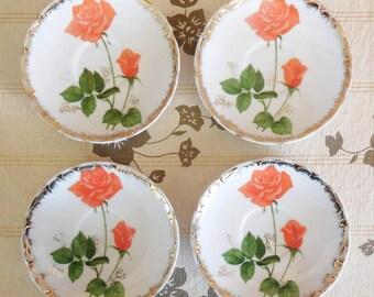 4 Japanese porcelain saucers orange rose motif gilt edging 1960s high tea