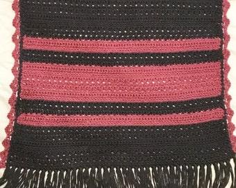 Grey/Pink Crocheted Shawl