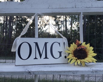 WEDDING SIGNS | OMG | Bride and Groom | Mr and Mrs | Wood Wedding Signs | Flower Girl Signs | 6 x 11.5