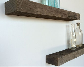 Floating Shelves: Set of 3, Rustic Roughsawn Reclaimed Barn Wood