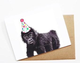 Birthday Card - Gorilla, Animal Birthday, Animal Card, Cute Greeting Card, Kids Birthday Card, Baby Birthday Card, Blank Gorilla Card