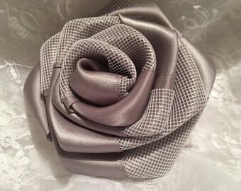 Satin Rose, Fabric Flower, Mesh Flower