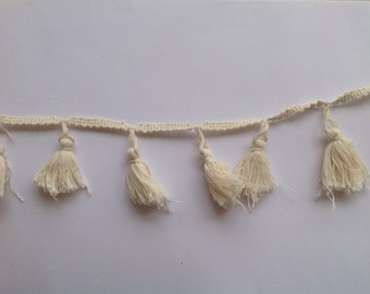 Dyeable Cotton Knotted Tassel  Trim Sold by 5 Yards