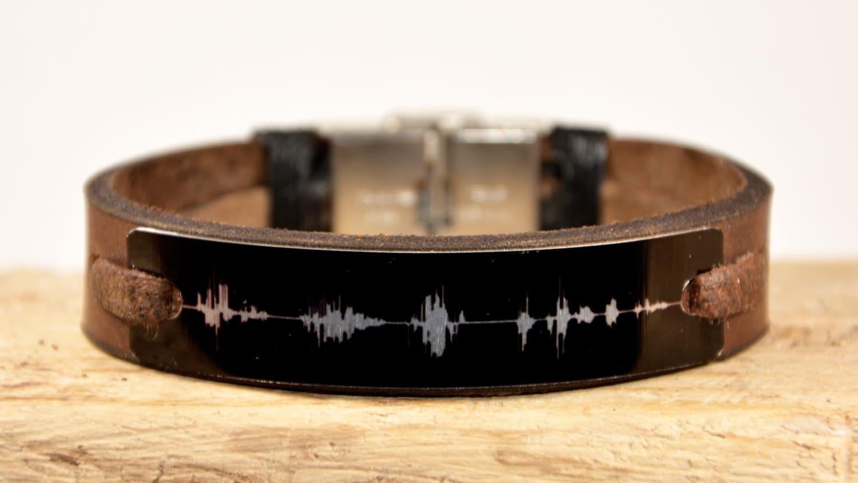 sound wave bracelet mens braceletleather bracelet by pukkamen