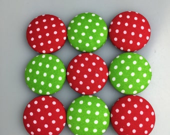 Fabric Button Magnets - Christmas themed red and green polka dots [Tin optional - see packaging options]