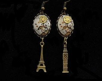 """Steampunk earrings""""Paris London""""Steampunk Earrings """"PARIS LONDON"""" D28"""