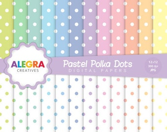 Pastel Polka Dots Digital Paper - Polka Dots Scrapbook Papers - White Dots, Colored Dots, Pastel - Instant Download - P085