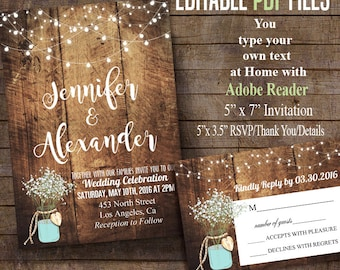 Printable Wedding Invitation, Rustic barn Wedding Editable PDF file you type yoru own text with ADOBE READER  C101