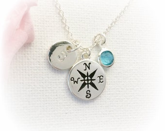 Compass Necklace, Travel Gifts, Travel Necklace, Graduation Necklace, UK Seller, Nautical Necklace, BFF Gifts, Compass Charm,SFINBCOM1