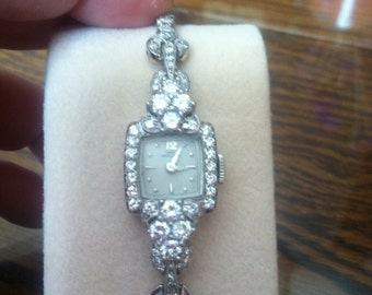 Gorgeous Vintage Platinum and Diamond Hamilton Ladies Watch