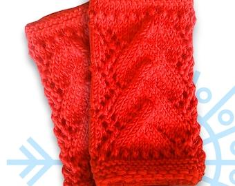 Wrist warmers, fingerless red warmers